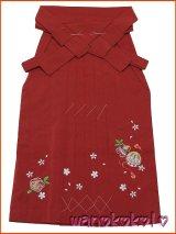 七五三着物 七歳女の子用刺繍入袴★富★赤系/桜・鞠柄