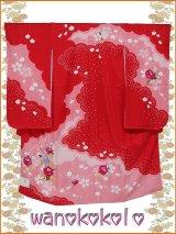 七五三着物 振袖(四つ身)★正絹★【さくら草】赤系/薔薇柄(刺繍入)【SK-301】