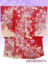 七五三着物 振袖(四つ身)★正絹★【あさがお】赤系/鞠・桜柄【ASG-7】
