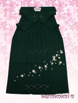 13歳向き女の子用無地刺繍袴★87cm★グリーン系/桜柄【BMSH-2】