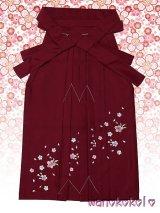七歳女の子用刺繍入袴★さくら★エンジ/桜柄