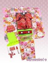 七五三着物 七歳用振袖着物フルセット★化繊・合繊★【愛】ピンク系/牡丹・桜・雪輪柄【AIF-4/金襴・赤】