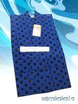 子供浴衣男の子用★平織★【120サイズ】瑠璃紺系/井桁柄【1204】