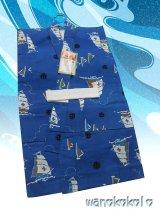 子供浴衣男の子用★平織★【120サイズ】瑠璃紺系/ヨット柄【1209】
