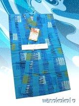 子供浴衣男の子用★平織★【120サイズ】シアン系/幾何学柄【1206】