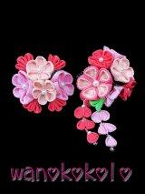 手作り髪飾り★紫Symphony★ちりめん下がり付簪コームタイプ/ピンク・薄ピンク系【SF-3】★