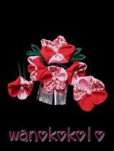 七五三 女の子用手作り髪飾り3点セット★かのん★ちりめん/赤・ピンク系花柄【6】