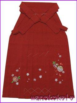 画像1: 7歳〜10歳向き女の子用刺繍入袴★保 75cm★赤系/桜・鞠柄