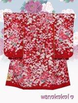 七五三着物 七歳用の着物・振袖(四つ身)★化繊・合繊★【牡丹】赤系/小花・牡丹柄【964】
