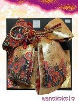 七歳用結び帯★段織金襴★ゴールド・ブラック/花柄