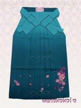 13歳向き女の子用ぼかし刺繍入袴★87cm★浅葱色系/鞠・桜・りぼん柄【KBSH-F】