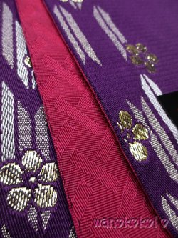 画像2: 卒業式向け袴下帯★A-STYLE★紫系/矢絣・梅柄(ラメ入)【HO-604】