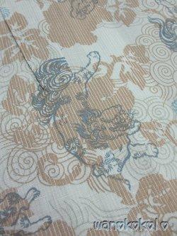 画像2: 子供浴衣男の子用★変り織(紅梅)★【100サイズ】薄グリーン系/唐獅子柄【DBY5-1007】
