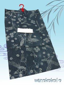 画像1: 子供浴衣男の子用★変り織(紅梅)★【110サイズ】藍グリーン系/鷹柄【DBY5-1105】