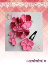 七五三 女の子用手作り髪飾り★HINARI★ちりめん/ピンク系花柄【3】