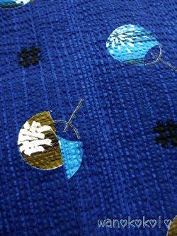 画像2: 子供浴衣男の子用★変り織(サッカー)★【100サイズ】紺瑠璃色系/うちわ柄【1001】