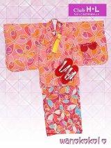 H・Lブランド子供着物アンサンブル★6点セット★【130サイズ】サーモンピンク×ピンク系/桜柄【01-17】w