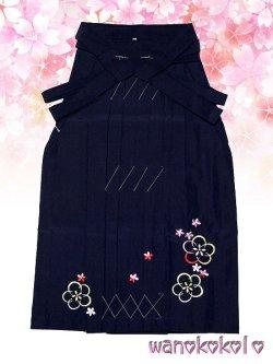 画像1: 卒園式・七五三着物 七歳女の子用刺繍入袴★月★紺色系/中太桜・小花柄