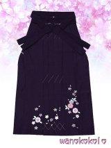 13歳向き女の子用刺繍入袴★藤 85cm★ダークパープル系/八重桜・小花柄