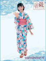 子供浴衣女の子用3点セット■HLブランド■[130サイズ]白系有色/鱗・花柄[4]