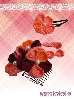 画像3: 七五三 女の子用手作り髪飾り★HINARI★ちりめん/エンジ・オレンジ系花柄【7】