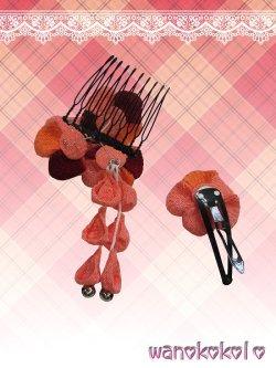画像2: 七五三 女の子用手作り髪飾り★HINARI★ちりめん/エンジ・オレンジ系花柄【7】