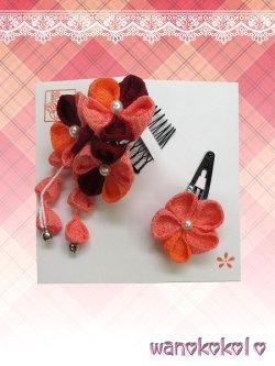 画像1: 七五三 女の子用手作り髪飾り★HINARI★ちりめん/エンジ・オレンジ系花柄【7】