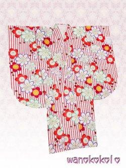 画像2: 小振袖(二尺袖)身丈が短いタイプ ■夢■ 白×赤系/縞・梅・菊柄 [NSYB-4]