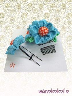 画像2: 浴衣向き手作り髪飾り★マーガレット★ちりめん/空色系【3】