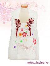 七五三着物 正絹三歳用被布コート 瞳 白系/梅取に桜柄 HITOMI-White-1