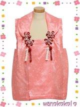 七五三着物 正絹三歳用被布コート 花 サーモンピンク系 HANA-Salmonpink