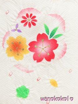 画像2: 七五三着物 正絹三歳用被布コート 瞳 白系/梅取に桜柄 HITOMI-White-1