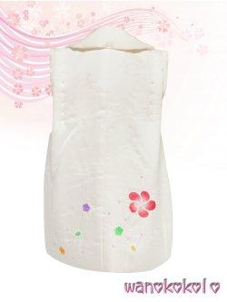 画像3: 七五三着物 正絹三歳用被布コート 瞳 白系/梅取に桜柄 HITOMI-White-1