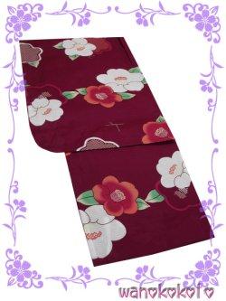 画像2: 子供浴衣女の子用お買い得3点セット 限定品 150サイズ 赤紫系/椿柄/ピンク×水色系 渚-683