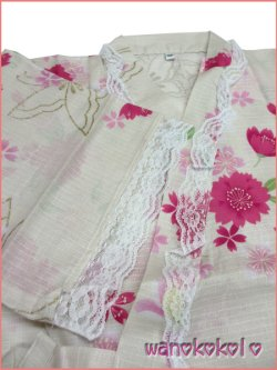画像3: 女の子用子供甚平 可愛いレース付 140サイズ 薄生成系/八重桜・蝶柄 GJB-1430