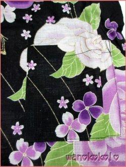 画像2: 女の子用子供甚平 可愛いレース付 120サイズ 黒系/薔薇・蝶柄 GJB-1221