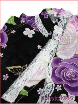 画像3: 女の子用子供甚平 可愛いレース付 120サイズ 黒系/薔薇・蝶柄 GJB-1221