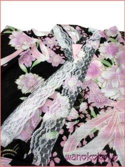 画像3: 女の子用子供甚平 可愛いレース付 120サイズ 黒系/八重桜・りぼん柄 GJB-1210