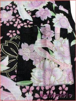画像2: 女の子用子供甚平 可愛いレース付 120サイズ 黒系/八重桜・りぼん柄 GJB-1210