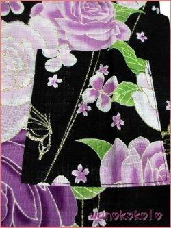 画像2: 女の子用子供甚平 可愛いレース付 120サイズ 黒系/薔薇・蝶柄 GJB-1206