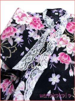 画像3: 女の子用子供甚平 可愛いレース付 100サイズ 濃紺系/八重桜柄 GJB-1019