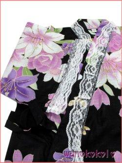 画像3: 女の子用子供甚平 可愛いレース付 100サイズ 黒系/百合・蝶柄 GJB-1025