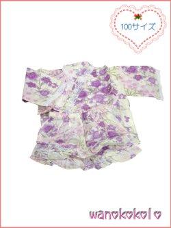 画像1:  女の子用子供甚平 可愛いレース付 100サイズ 薄生成系/八重桜・リボン柄 GJB-1010