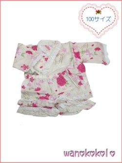 画像1: 女の子用子供甚平 可愛いレース付 100サイズ 生成系/八重桜・蝶柄 GJB-1008