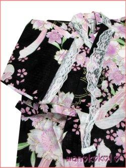 画像3: 女の子用子供甚平 可愛いレース付 100サイズ 黒系/八重桜・リボン柄 GJB-1035