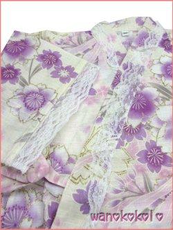 画像3:  女の子用子供甚平 可愛いレース付 100サイズ 薄生成系/八重桜・リボン柄 GJB-1010
