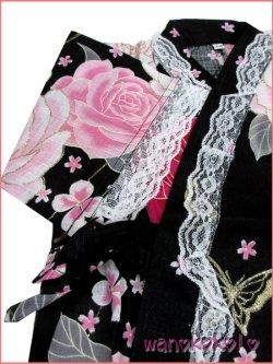 画像3: 女の子用子供甚平 可愛いレース付 100サイズ 黒系/薔薇・蝶柄 GJB-1026