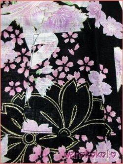 画像2: 女の子用子供甚平 可愛いレース付 100サイズ 黒系/八重桜・リボン柄 GJB-1035