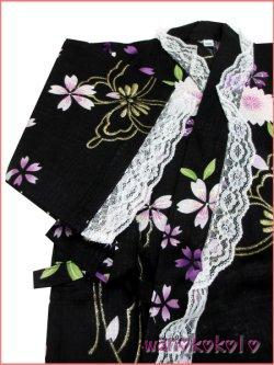 画像3: 女の子用子供甚平 可愛いレース付 100サイズ 黒系/八重桜・蝶柄 GJB-1034