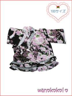 画像1: 女の子用子供甚平 可愛いレース付 100サイズ 黒系/八重桜・リボン柄 GJB-1035